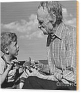 Grandfather And Boy With Model Plane Wood Print
