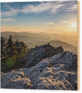 Grandfather Mountain Sunset Blue Ridge Parkway Western Nc Wood Print