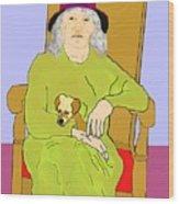 Grandma And Puppy Wood Print