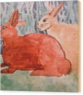 Grandma's Bunnies Wood Print