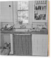Grandma's Kitchen B W Wood Print