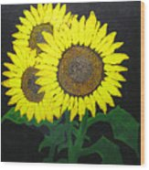 Grandmas Sunflowers Wood Print