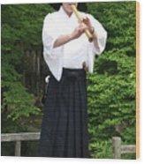 Grandmaster Playing Shakuhachi Wood Print