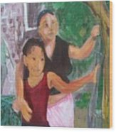 Grandmother And Grand-daughter In  Honduras Wood Print