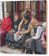 Grandmothers' Talk After Morning Prayer Wood Print