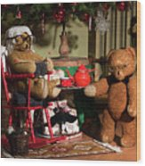 Grandpa And Grandma Teddy Bears' Christmas Eve Wood Print