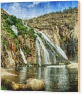 Granite Mountain Waterfall - Vintage Version Wood Print