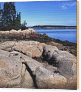 Granite Shoreline Deer Isle Maine Wood Print