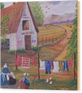 Granny And Her Laundry Wood Print by Janna Columbus