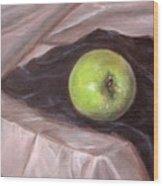 Granny Apple On Velvet And Satin - Sold Wood Print