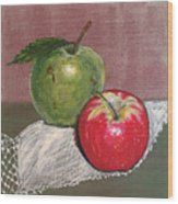Granny Smith With Pink Lady Wood Print