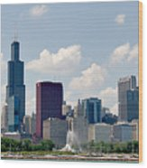 Grant Park And Chicago Skyline Wood Print