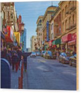Grant Street In Chinatown Wood Print