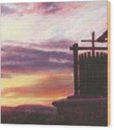 Grape Crusher Napa Valley Sunset Wood Print by Takayuki Harada