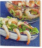 Grapefruit And Shrimp Salad Wood Print