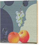 Grapes And Apples Wood Print