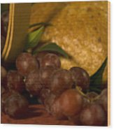 Grapes  And Bread Wood Print