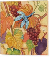 Grapes And Dragonfly Wood Print