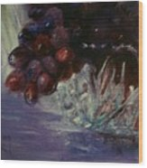 Grapes And Glass Wood Print