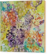 Grapes And Leaves I Wood Print