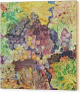 Grapes And Leaves II Wood Print