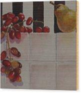 Grapes And Pear Wood Print