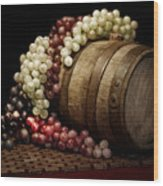 Grapes And Wine Barrel Wood Print by Tom Mc Nemar