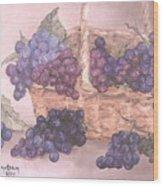 Grapes In Basket Wood Print