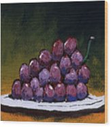 Grapes On A White Plate Wood Print