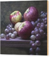 Grapes With Apples Wood Print