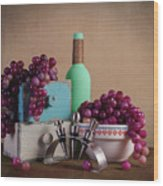 Grapes With Wine Stoppers Wood Print