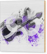 Graphic Art Guitar - Purple Wood Print