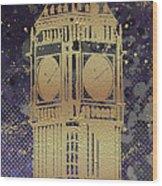 Graphic Art London Big Ben - Ultraviolet And Golden Wood Print