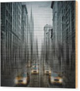Graphic Art Nyc 5th Avenue Traffic V Wood Print