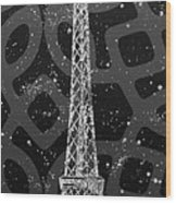 Graphic Art Paris Eiffel Tower - Silver And Grey Wood Print