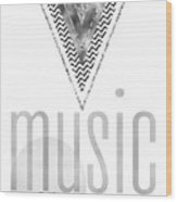 Graphic Art Silver Music On - World Off Wood Print