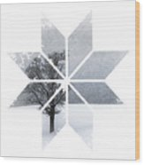 Graphic Art Snowflake Lonely Tree Wood Print