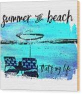 Graphic Art Summer And Beach Wood Print