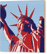 Graphic Statue Of Liberty Red White Blue Wood Print