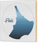 Graphic Style Paris Eiffel Tower Blue Wood Print