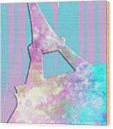 Graphic Style Paris Eiffel Tower Pink Wood Print by Melanie Viola
