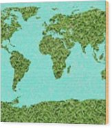 Grass World Map Wood Print