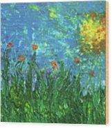 Grassland With Orange Flowers Wood Print