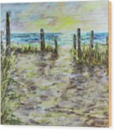 Grassy Beach Post Morning 2 Wood Print
