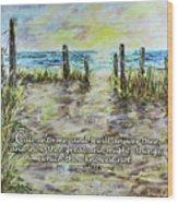 Grassy Beach Post Morning 2 Jeremiah 33 Wood Print