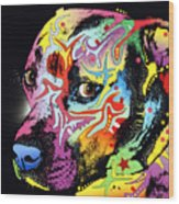 Gratitude Pit Bull Warrior Wood Print by Dean Russo