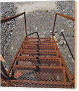 Gravel Pit Grinder Rusty Staircase Wood Print