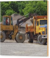Gravel Pit Loader And Dump Truck 01 Wood Print