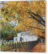 Graveyard In Autumn Wood Print