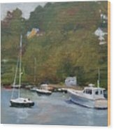 Gray Afternoon At Rockport Harbor Wood Print